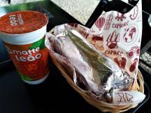 The burrito with an Ice tea